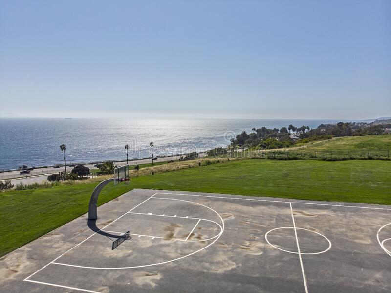 Basketball Court with Amazing Ocean View stock images