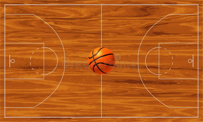 Basketball court. With a basketball ball in the middle