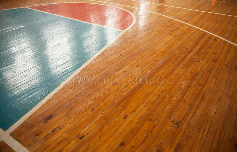 Basketball court. Closeup with reflection. Sports background stock photography