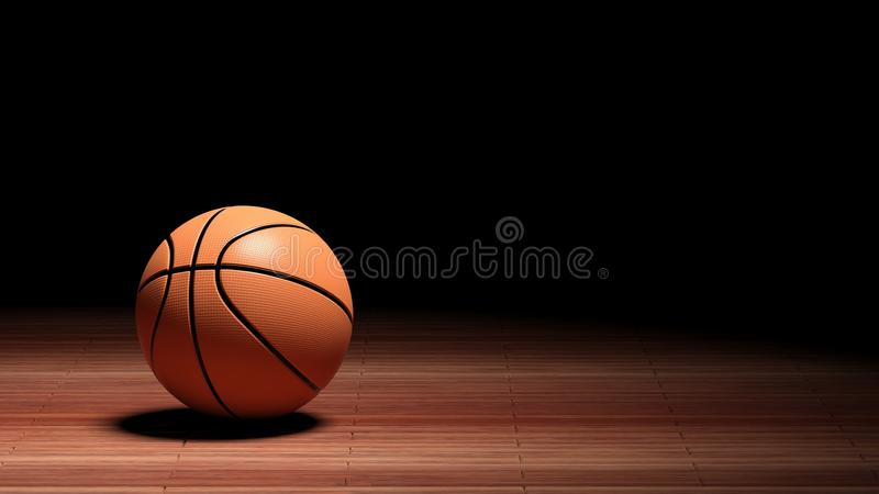 Basketball court floor with ball. Isolated on black and copy-space vector illustration