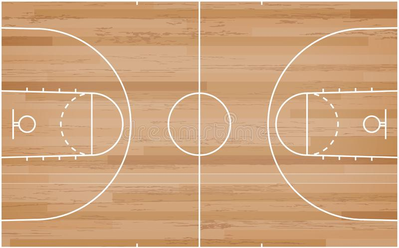 Basketball court floor with line on wood pattern texture background. Basketball field. Vector. Illustration vector illustration