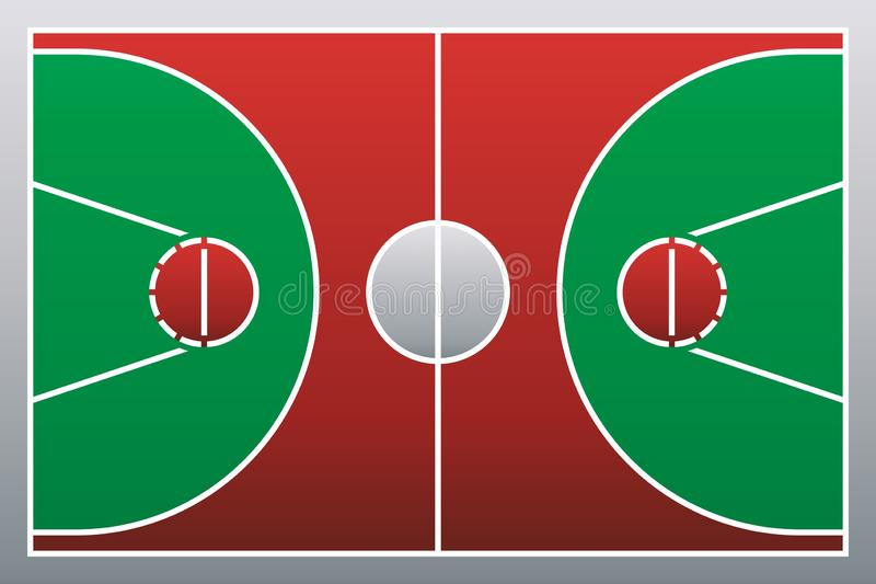 Basketball court floor with line on wood texture background 皇族释放例证