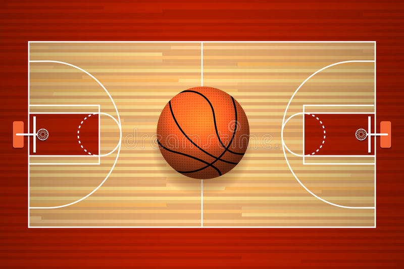 Basketball court floor top view. Basketball hardwood court floor top view vector illustration royalty free illustration