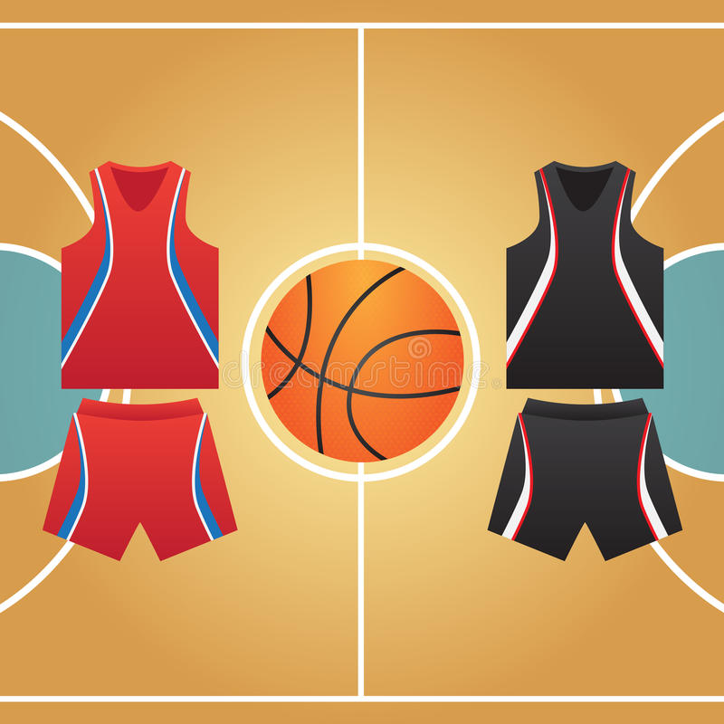 Basketball court. Form of ball players royalty free illustration