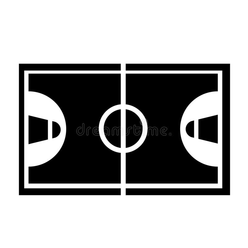 Basketball Court Icon Vector. This vector image shows a court icon in glyph style. It is isolated on a white background vector illustration