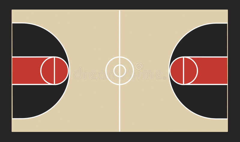 Basketball Court Illustration. A vector illustration of a basketball court and all of its court markings vector illustration