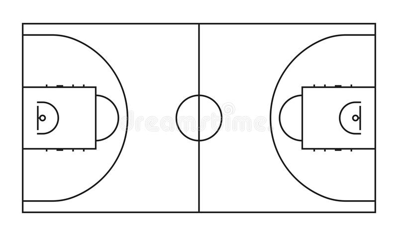Basketball court line vector background. Outline basketball sports field. For game background area illustration royalty free illustration