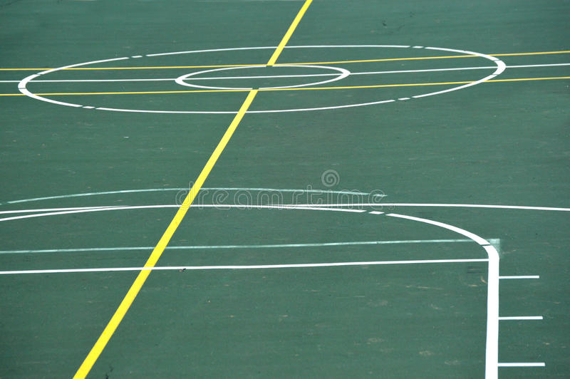 Basketball Court. Part of an outdoor basketball court with center circle royalty free stock images
