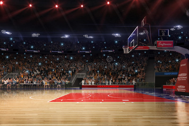 Basketball court with people fan. Sport arena.Photoreal 3d render background. blured in long shot distancelike leans optical,. A little noise like photography stock illustration