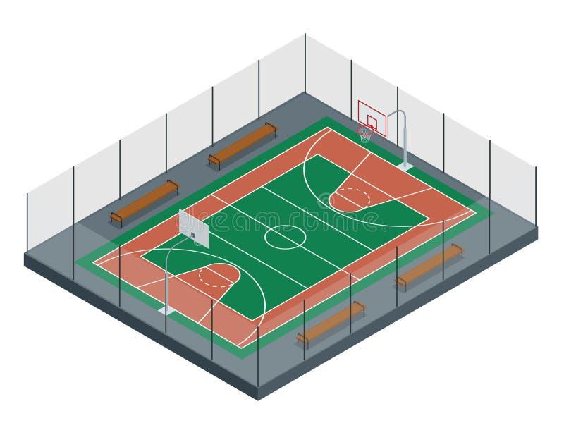 Basketball court Regen auf dem Stadion 3d übertragen Hintergrund unfocus im Abstand der reinen Spekulation stock abbildung