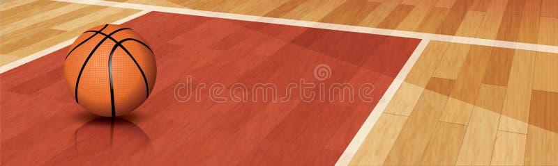 Basketball on court royalty free illustration