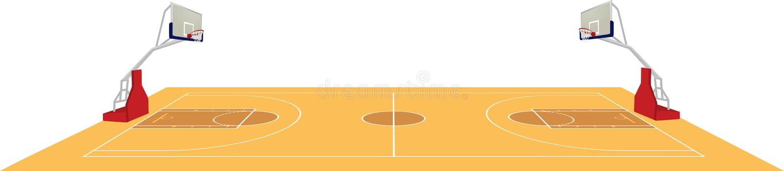 Basketball court, side view. Vector vector illustration