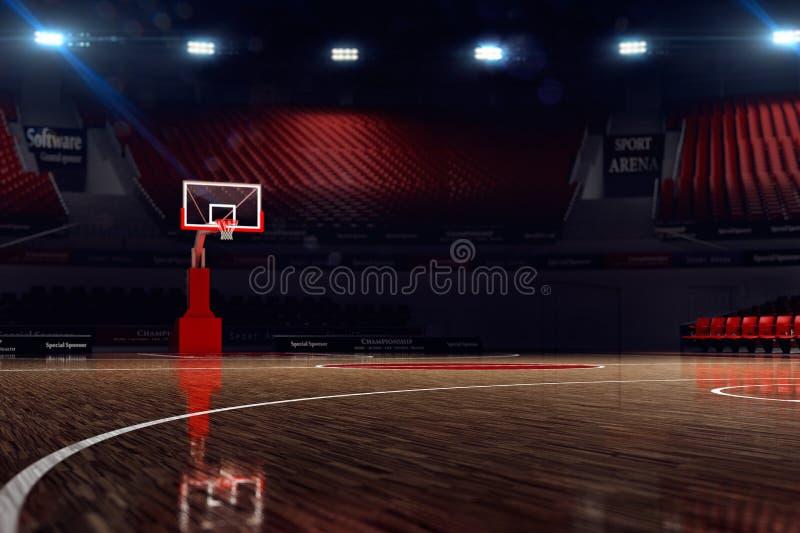 Basketball court. Sport arena. 3d render background. unfocus in long shot distance royalty free illustration