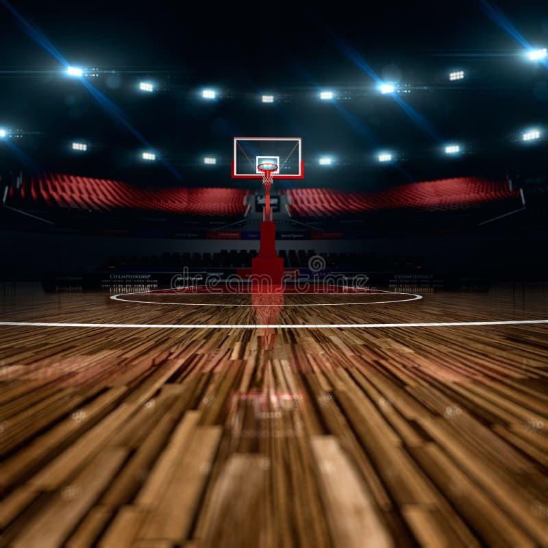 Basketball court. Sport arena. 3d render background. unfocus in long shot distance stock illustration