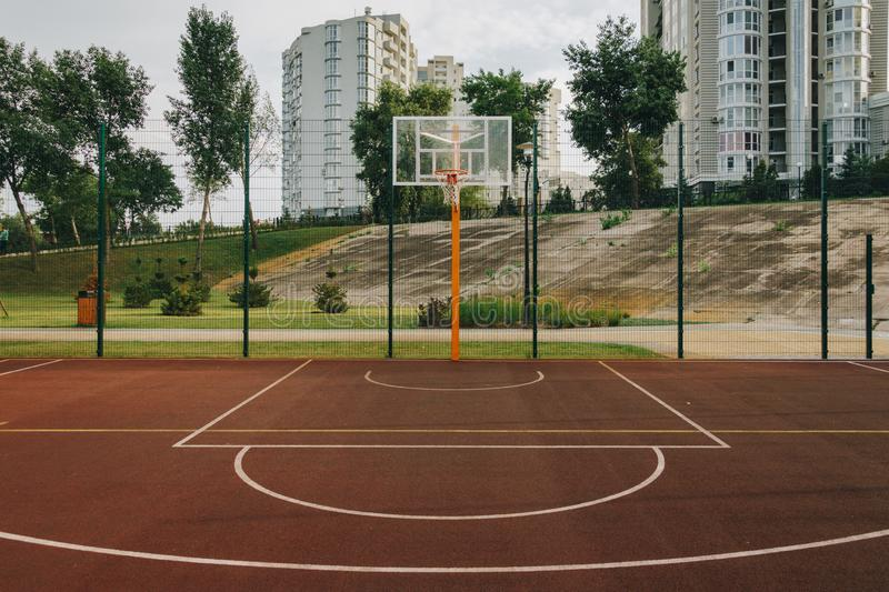 Basketball court. Sport arena. Outdoor sports facility in the Natalka park of Kiev in Ukraine royalty free stock images