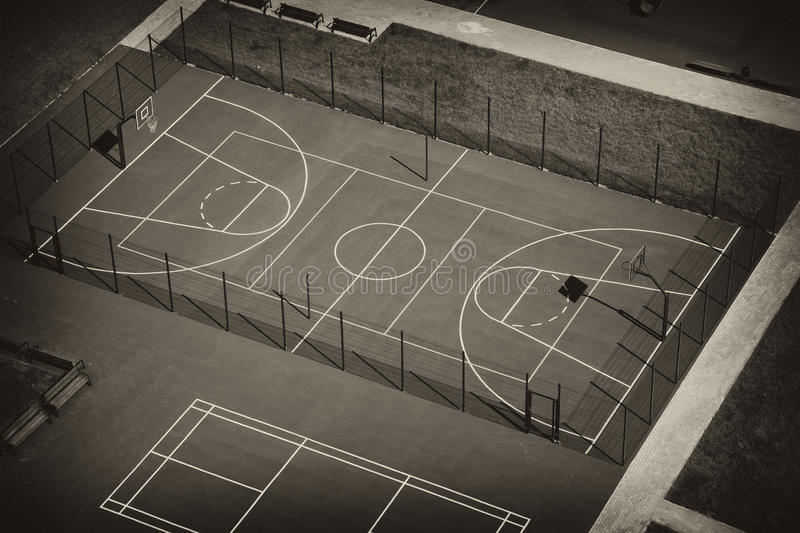 Basketball court top view. Retro toning stock photography