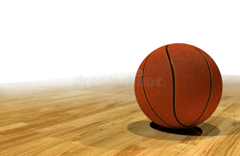 Basketball on a court, white background for text. Basketball sitting on court floorboards, neutral white background for text placement stock image