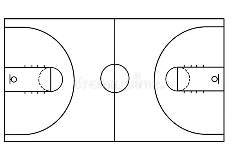 Basketball court on white background royalty free illustration