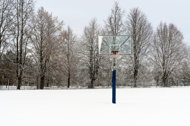 Basketball court in the winter stock image