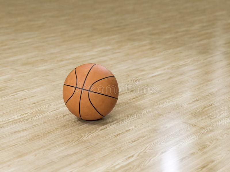 Basketball court wooden floor with ball on black with c stock images
