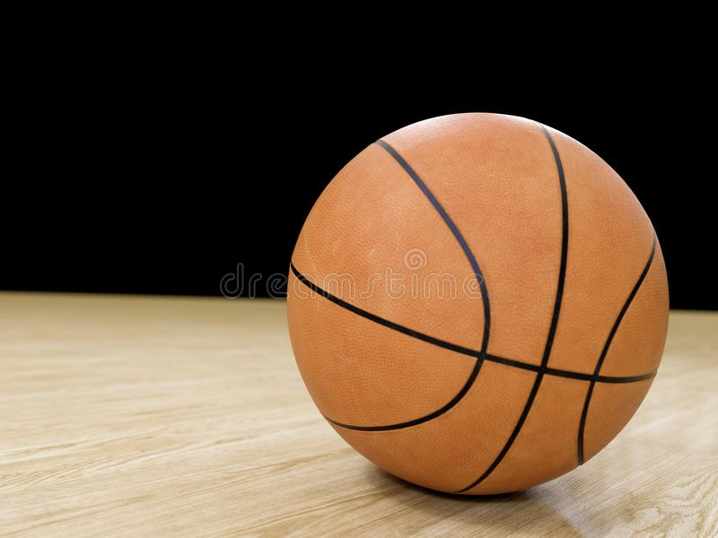 Basketball court wooden floor with ball on black with c stock photo