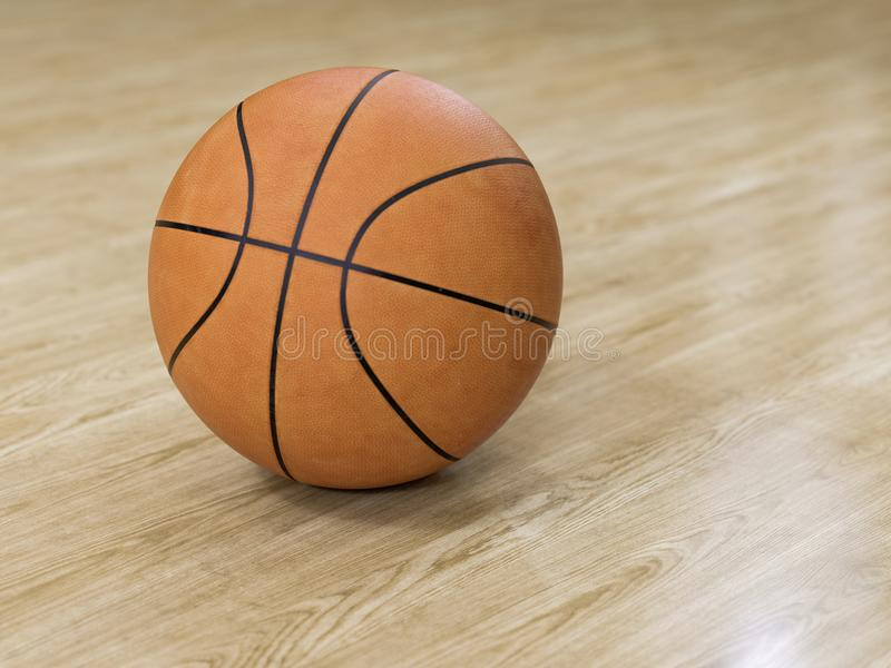 Basketball court wooden floor with ball on black with c stock image