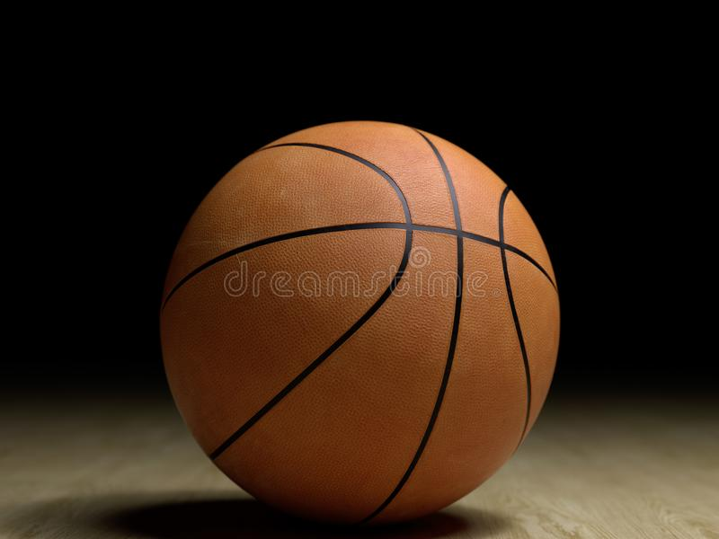 Basketball court wooden floor with ball isolated on black with c stock photos