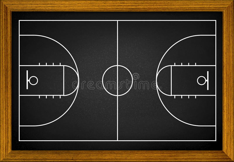 Basketball court in the wooden frame. royalty free stock images