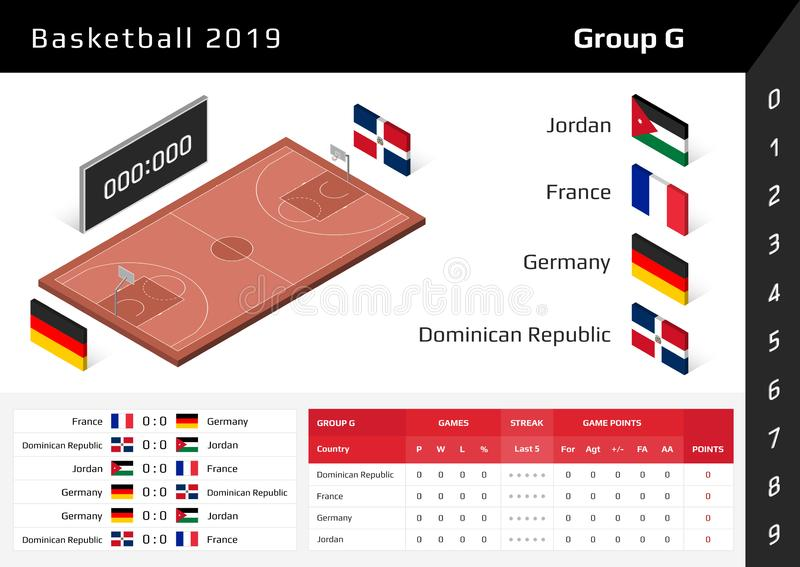 Basketball cup 2019. 3D isometric court. Set of national flags group G royalty free illustration