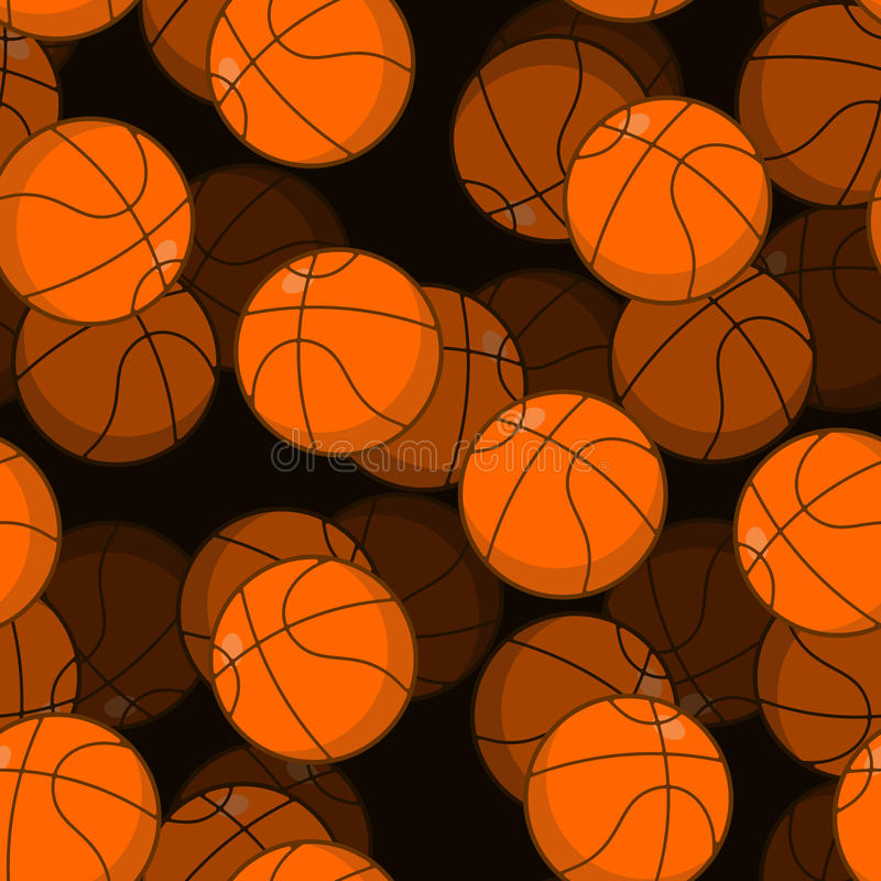 Basketball 3D seamless pattern. Sports accessory ornament. Basketball volume background. Orange spherical. Texture for sports tea. M game with ball stock illustration
