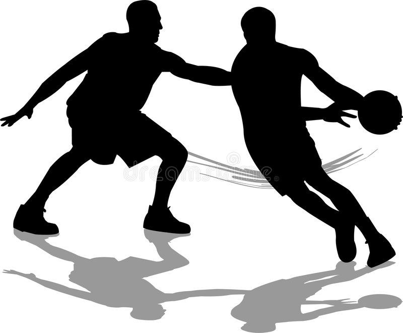 Basketball Defense. Illustration of two basketball players, one dribbling down the court and the other defending