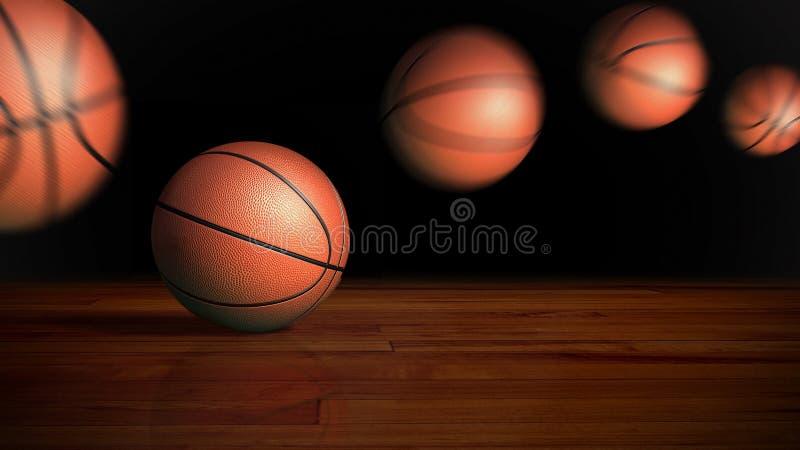 Basketball, der auf Holzfußboden aufprallt lizenzfreie abbildung