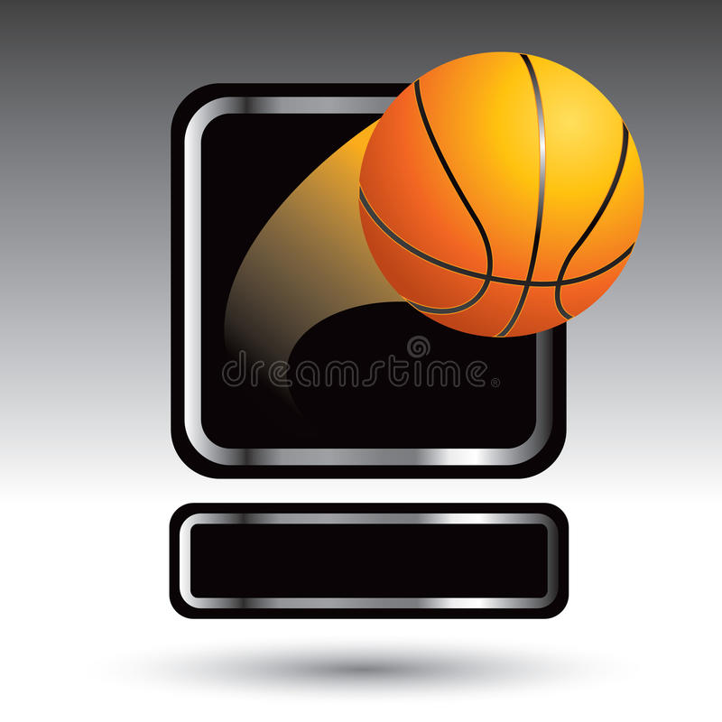 Basketball, der aus silbernes Feldtypenschild herauskommt vektor abbildung