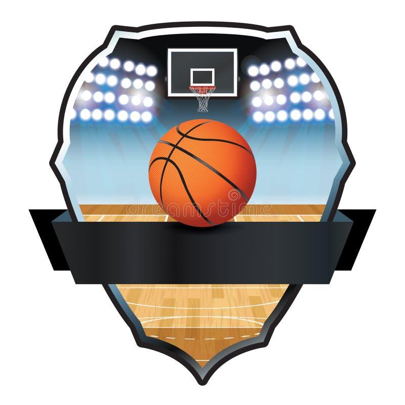 Basketball-Emblem-Ausweis-Illustration stock abbildung