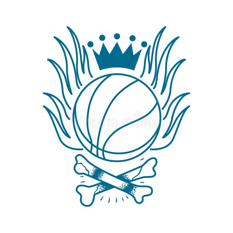 Basketball emblem in the style of a traditional tattoo vector illustration