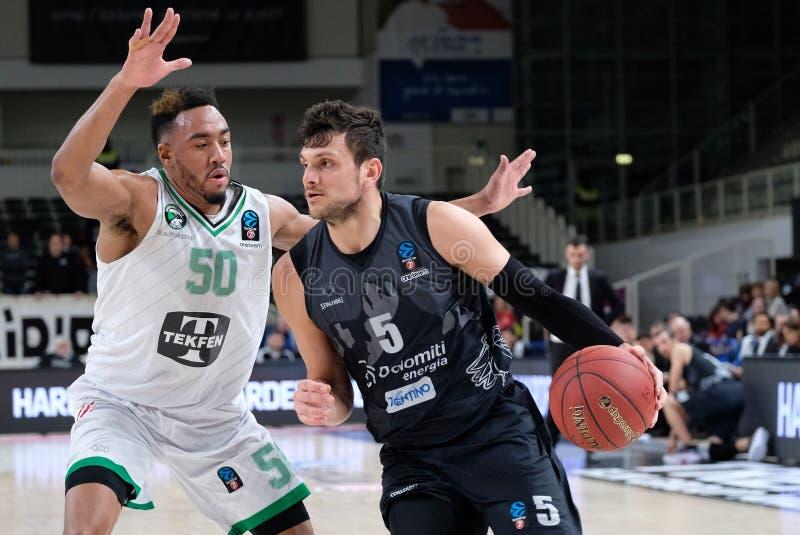 Basketball EuroCup Championship Dolomiti Energia Trento vs Darussafaka Tekfen Istanbul stock photo