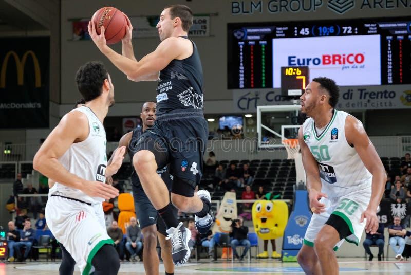 Basketball EuroCup Championship Dolomiti Energia Trento vs Darussafaka Tekfen Istanbul royalty free stock images