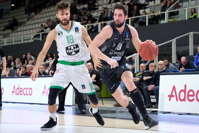 Basketball EuroCup Championship Dolomiti Energia Trento vs Darussafaka Tekfen Istanbul royalty free stock photo