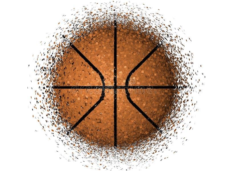 Basketball exploding. Over white background, 3D render royalty free illustration