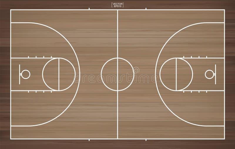 Basketball field for background. Basketball court with line pattern. Basketball field for background. Top view of basketball court with line pattern area stock illustration