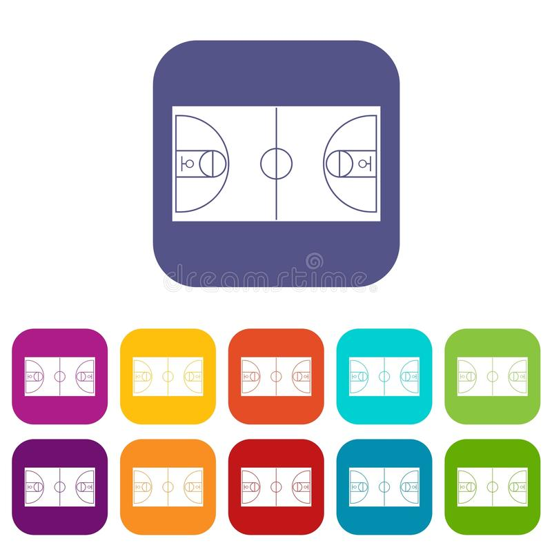 Basketball field icons set royalty free illustration