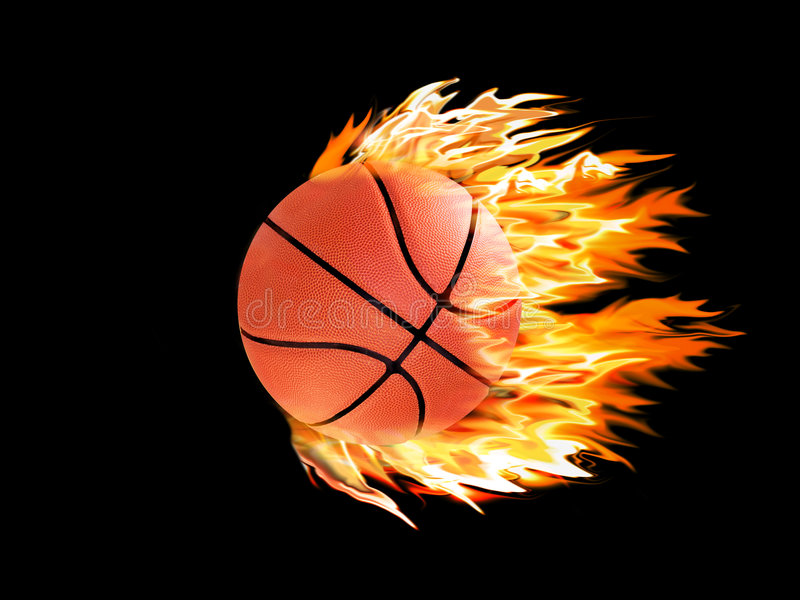 Basketball on fire. N a black background stock illustration