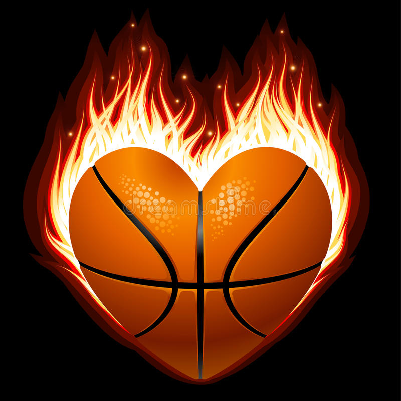 Basketball on fire in the shape of heart vector illustration