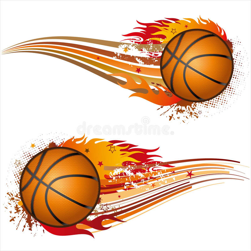 basketball with flames vector illustration