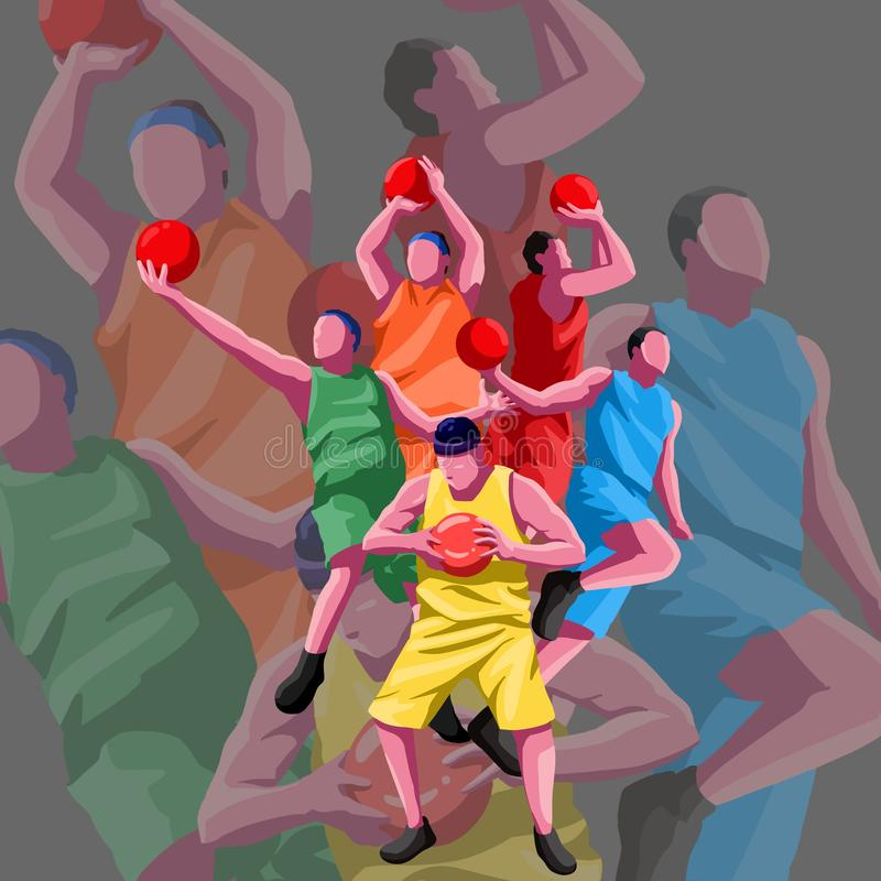 Basketball flat character free vector. Action, athlete, ball, basketball, basketball vector, nchampion, competition, football, game, illustration, isolated royalty free illustration