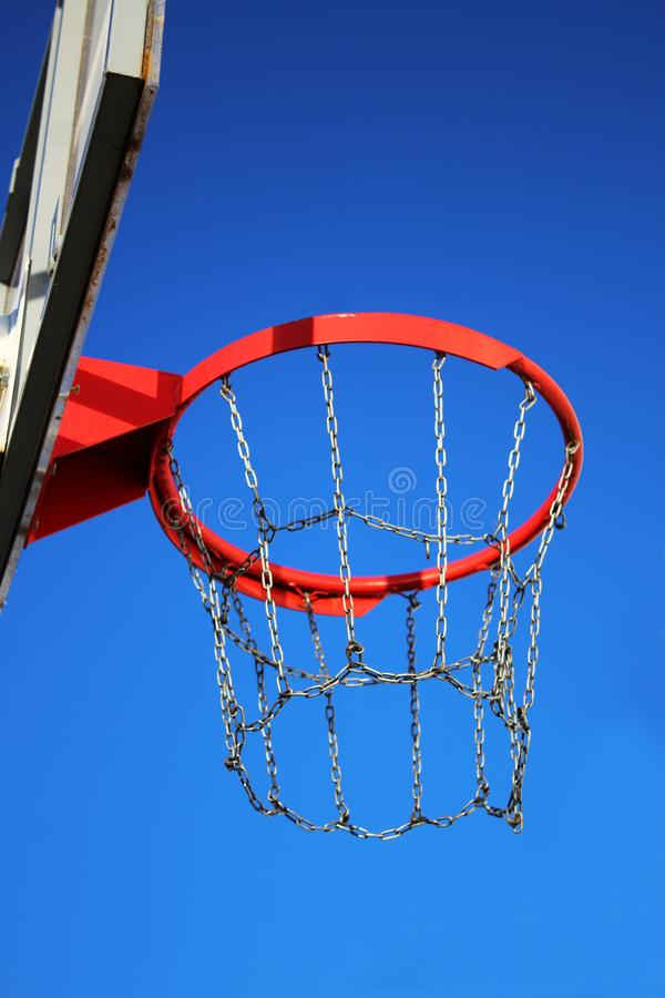 Basketball fly going into the ring net royalty free stock photography