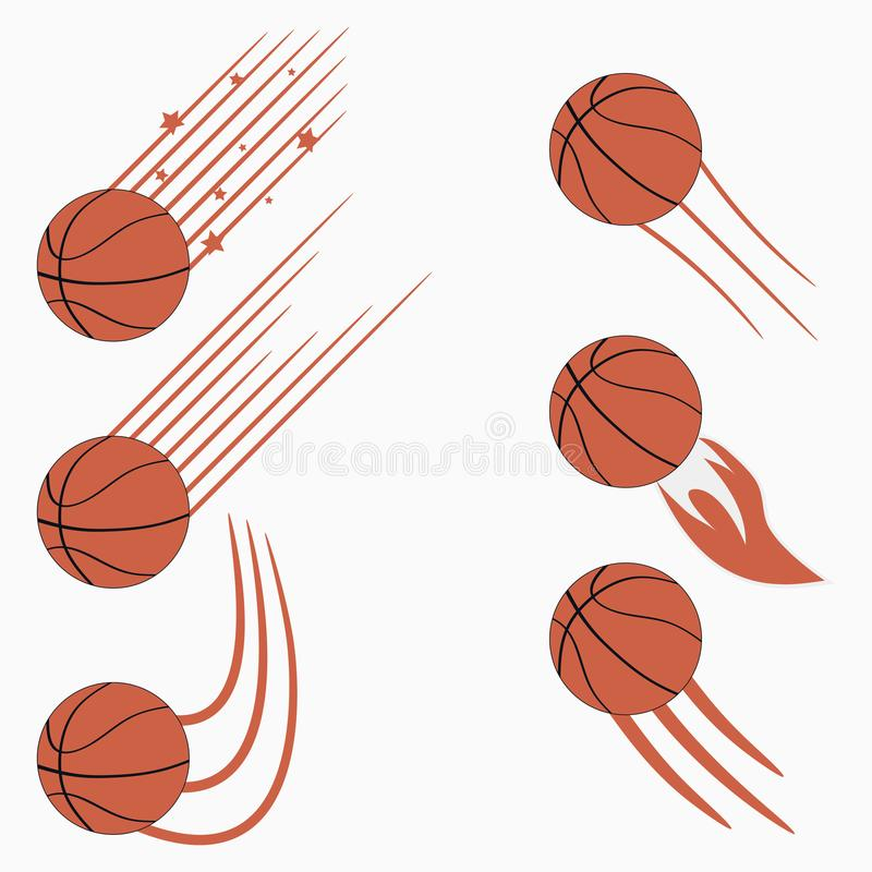 Basketball flying balls set with speed motion trails. Graphic design for sports logo. Vector. vector illustration