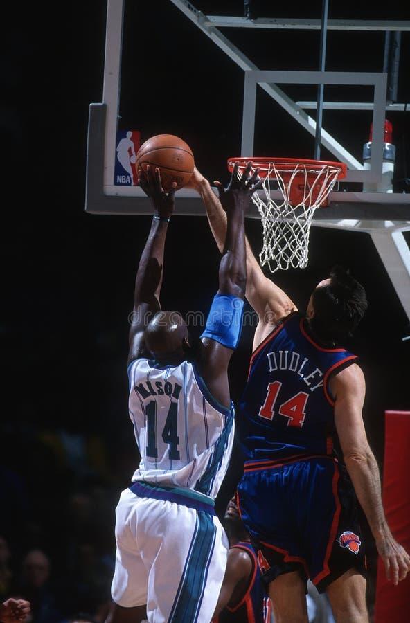Basketball Game Action. Basketball game action at NBA game royalty free stock photo