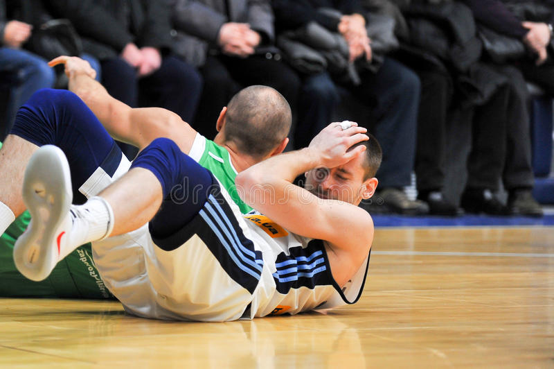 Basketball game. BC Dnipro vs BC Zaporizhia-ZOG. Ukrainian basketball championship, Dnipro City, Ukraine stock photo