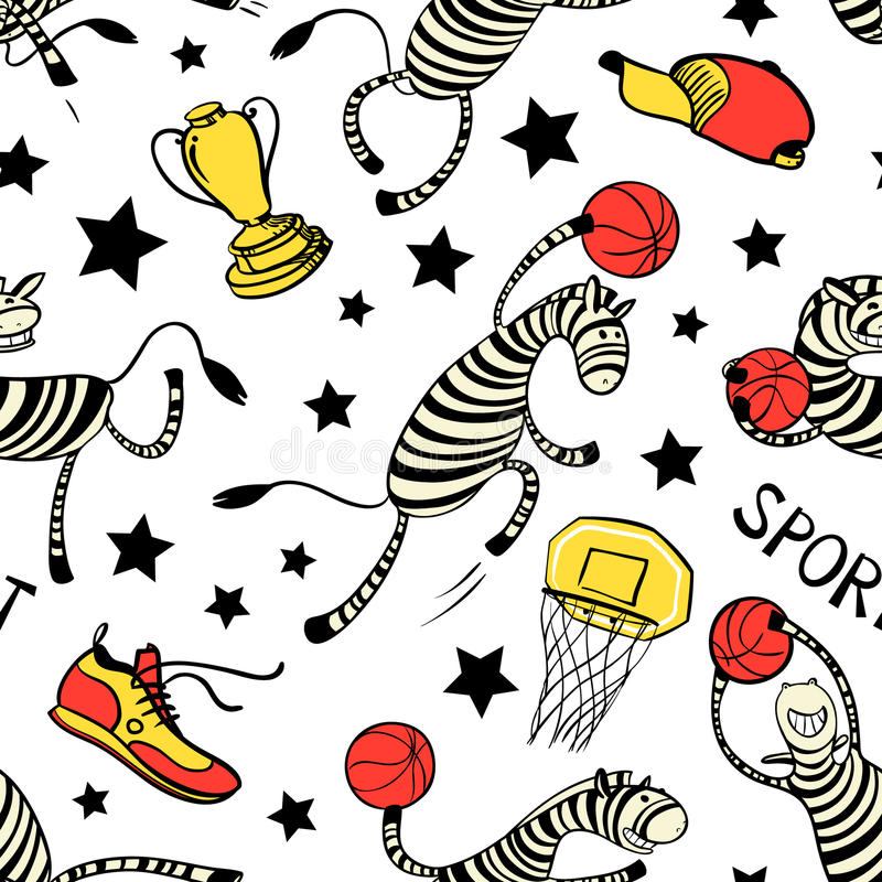 Basketball game seamless pattern with doodle cute zebra player. Background with sport attribute - cup, basket, shoe, stars, ball. Action poses. Vector royalty free illustration